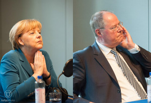 Angela Merkel und Peer Steinbrück im Radiostudio
